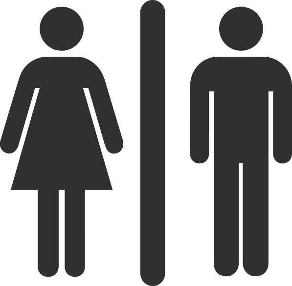 Black Icon to show Washroom Refurbishment for public toilets. Man & women.