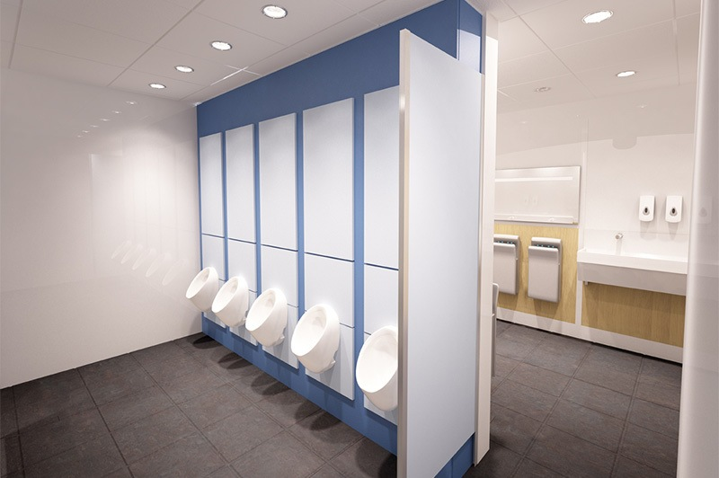 office toilet design. commercial toilet refurbishment for stannah stair lifts, hampshire office design d
